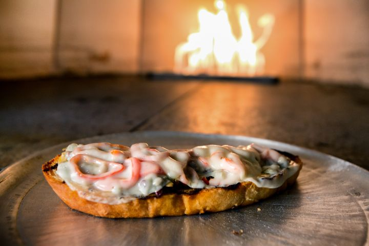 Open Faced Melted Cheese Italian Sandwich