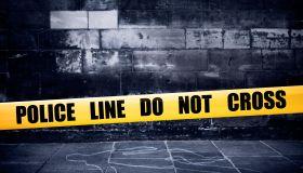 Yellow police line on crime scene