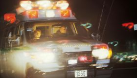 Ambulance with lights flashing